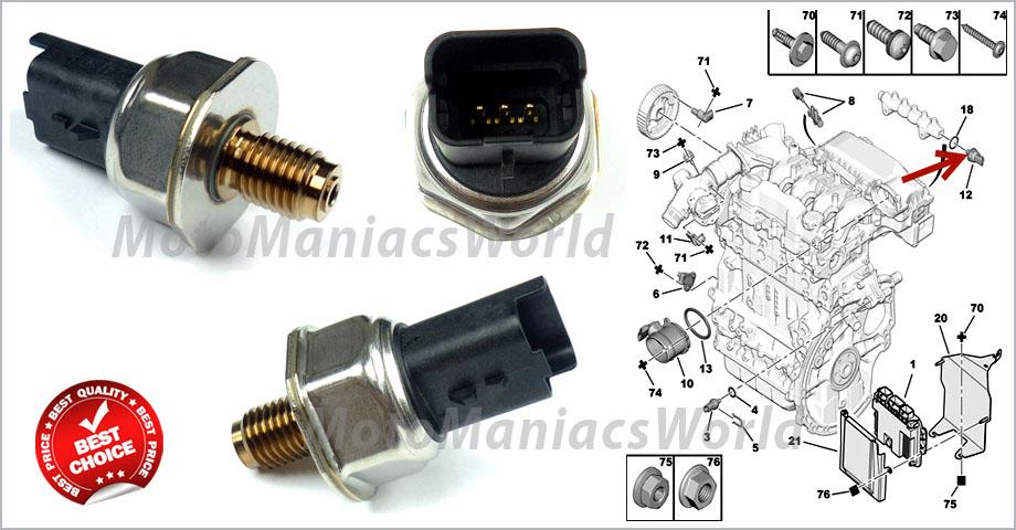 sensore pressione carburante common rail peugeot 107 1007 206 207 307 308 3008 ebay. Black Bedroom Furniture Sets. Home Design Ideas